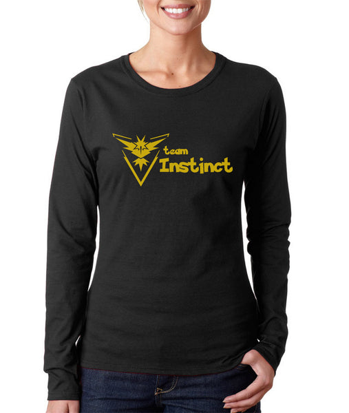 Team Instinct YELLOW Ink On Front Pokemon Go Long sleeve T-shirt for Women