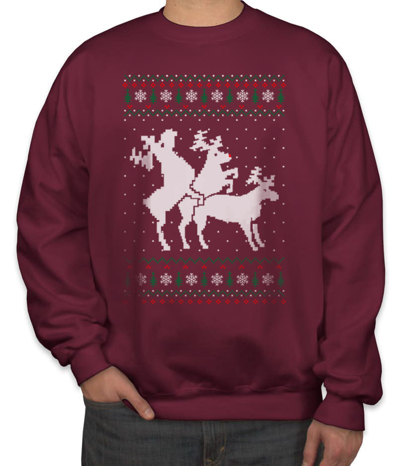 Ugly Sweater Christmas.Threesome Humping Reindeer Ugly Sweater Christmas Unisex Crewneck Sweatshirt Adult