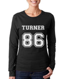 Turner 86 White Ink On FRONT Alex Turner Long sleeve T-shirt for Women