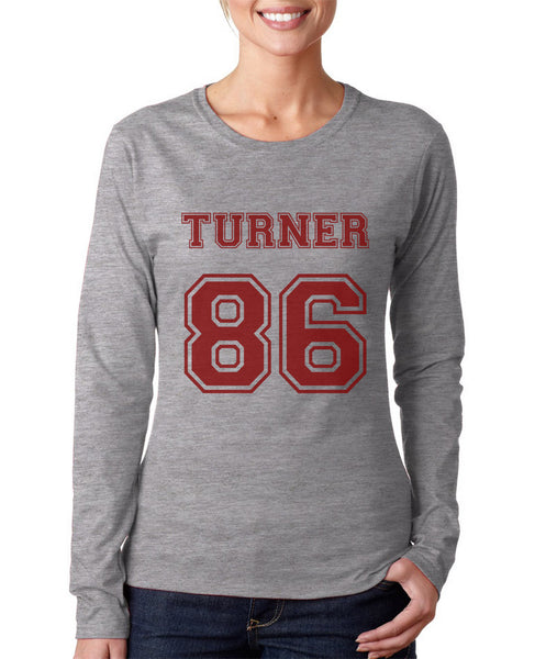 Turner 86 Maroon Ink On FRONT Alex Turner Long sleeve T-shirt for Women