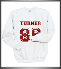 Turner 86 Maroon Ink on Front Alex Turner Crewneck Sweatshirt - Meh. Geek