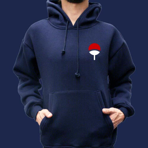 Uchiha Pocket on Front Naruto Unisex Pullover Hoodie - Meh. Geek