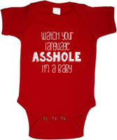 Watch your language Asshole I'm a Baby Rabbit Skins Infant Baby Rib Lap Shoulder Creeper Onesies - Meh. Geek - 4