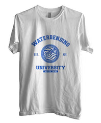 Waterbending University Blue ink print Avatar Water Bender Men T-shirt