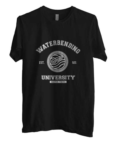 Waterbending University White ink print Avatar Water Bender Men T-shirt