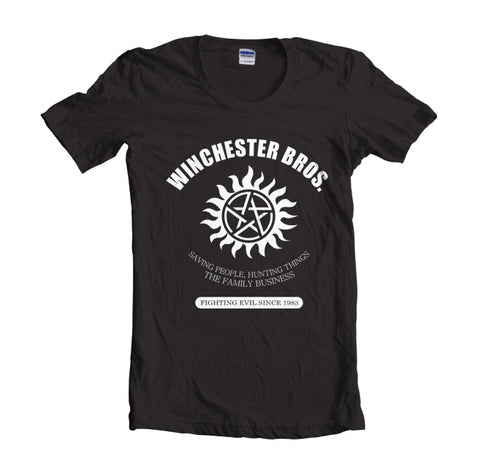 Winchester Bros Saving People Hunting Things The Family Business T-shirt Women - Meh. Geek