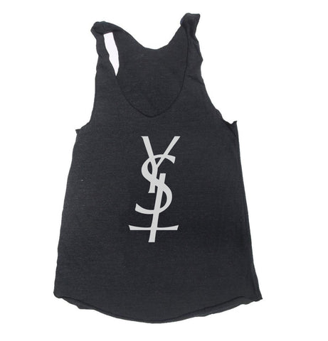 YSL Cross upside down Triblend Racerback Women Tank Top