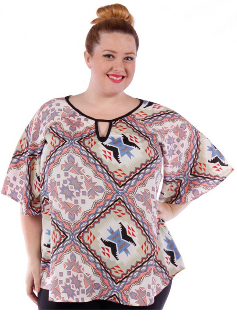 Wide Bell Sleeve Printed Top