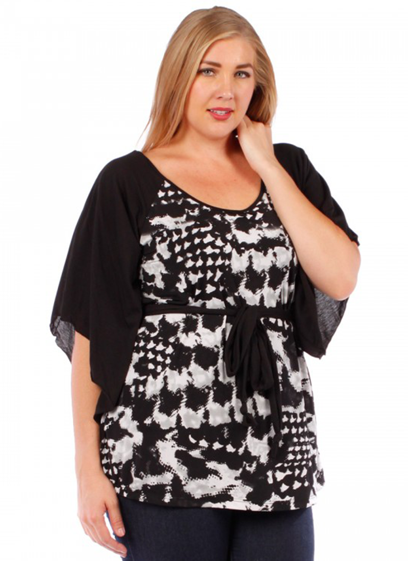 Print Tunic Black Top