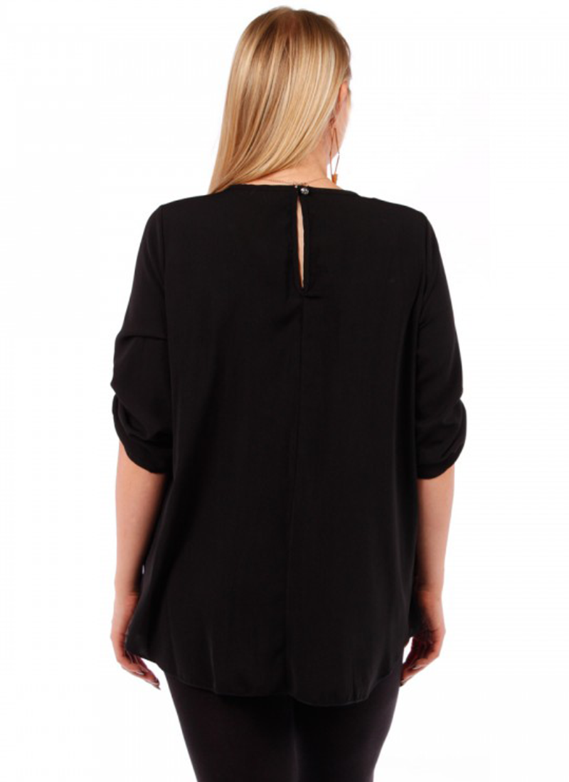 Black Scoop Neck With Rollup Sleeves Top
