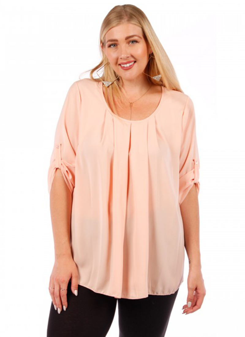 Salmon Scoop Neck With Rollup Sleeves Top