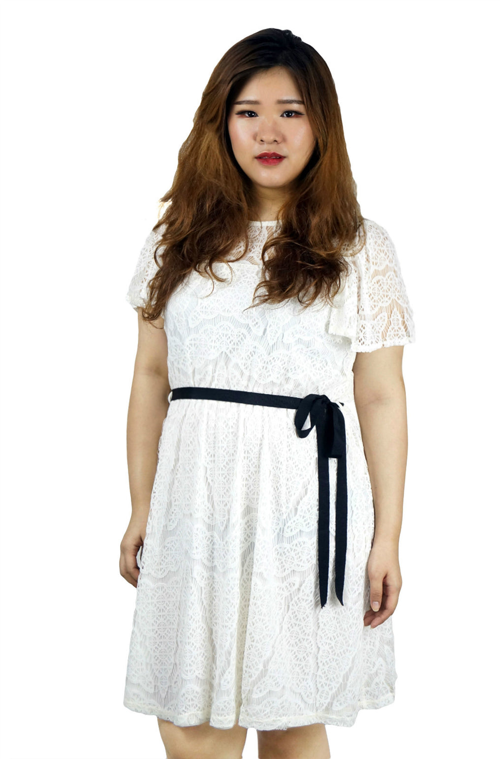 All Over Lace Belted White Dress