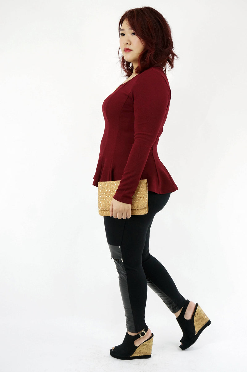 Burgundy Peplum Zip Top