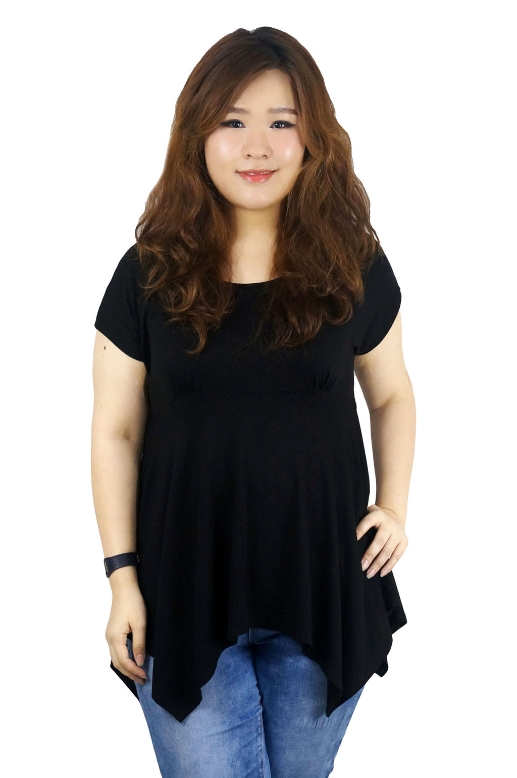 Asymmetric Bottom Jersey Black Top