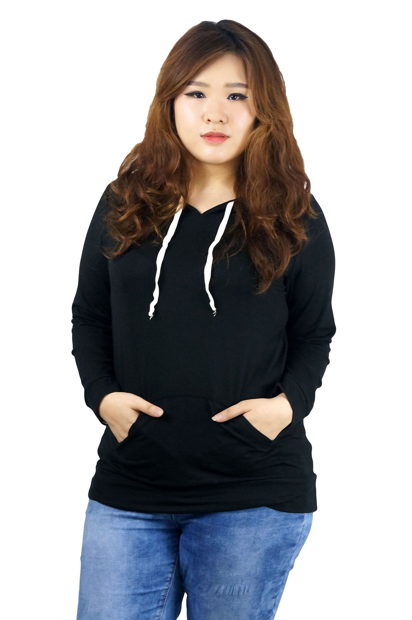 47c5c49733 Black Hoodie Kangaroo Front Pocket Plus SIze Top