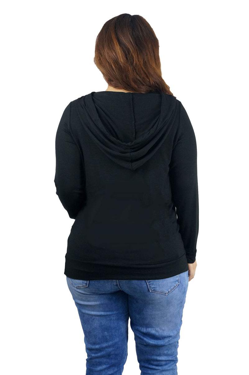 Black Hoodie Kangaroo Front Pocket Top