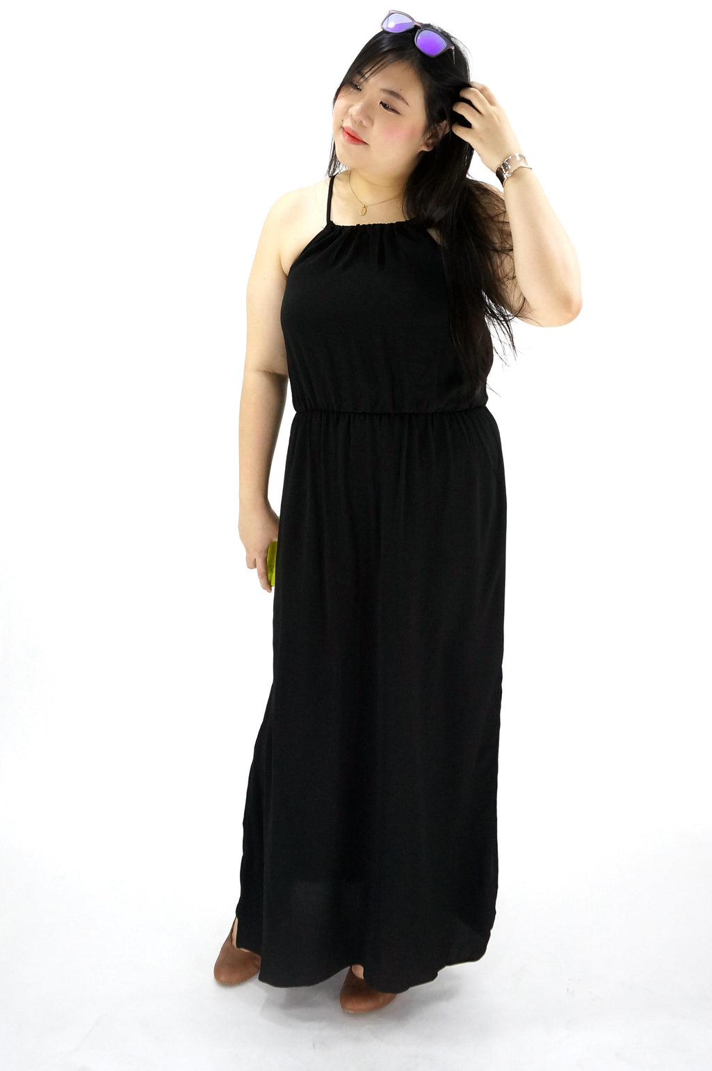 Scoop Neck Spaghetti Strap Long Dress