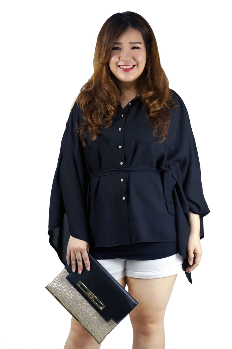 Black Flare Sleeve Loose Blouse