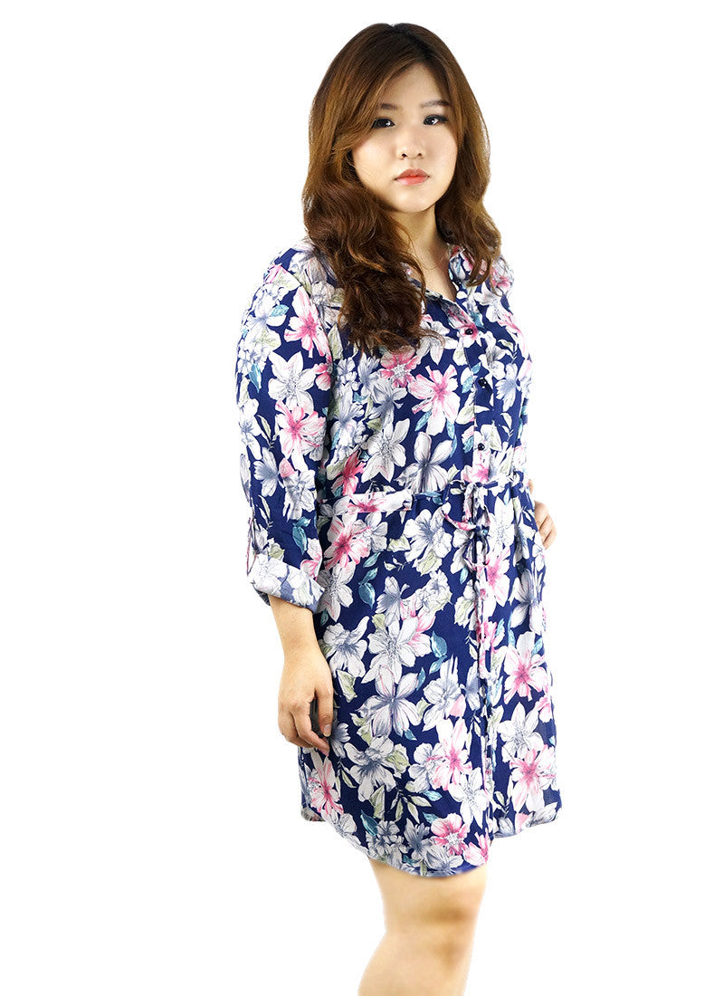 Button Down Floral Print Navy Tunic Dress