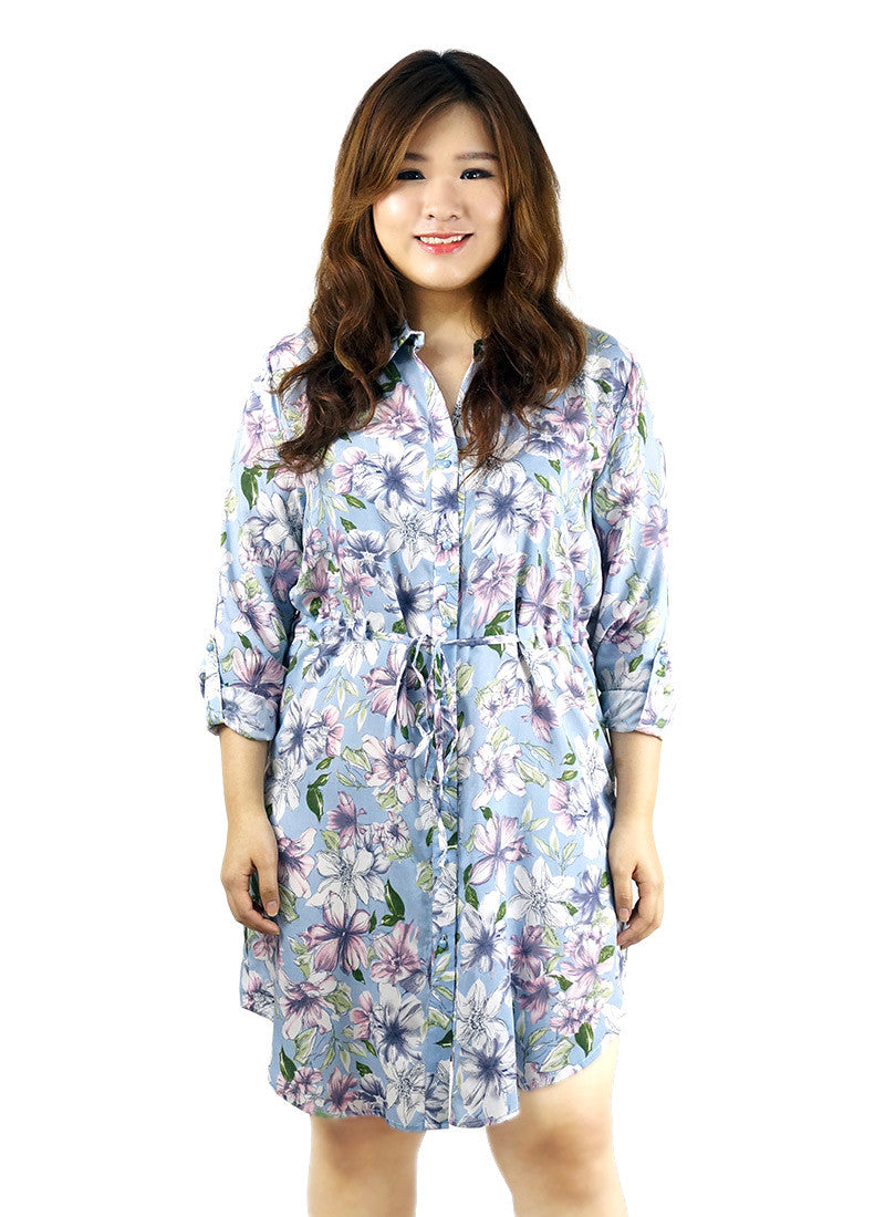 Button Down Floral Print Sky Blue Tunic Dress