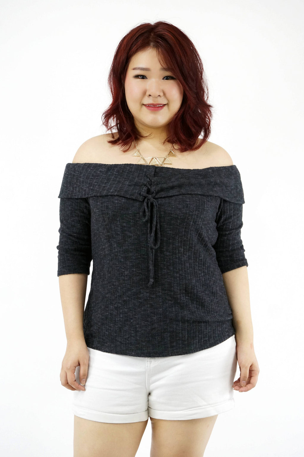 Charcoal Off Shoulder Ribbed Top