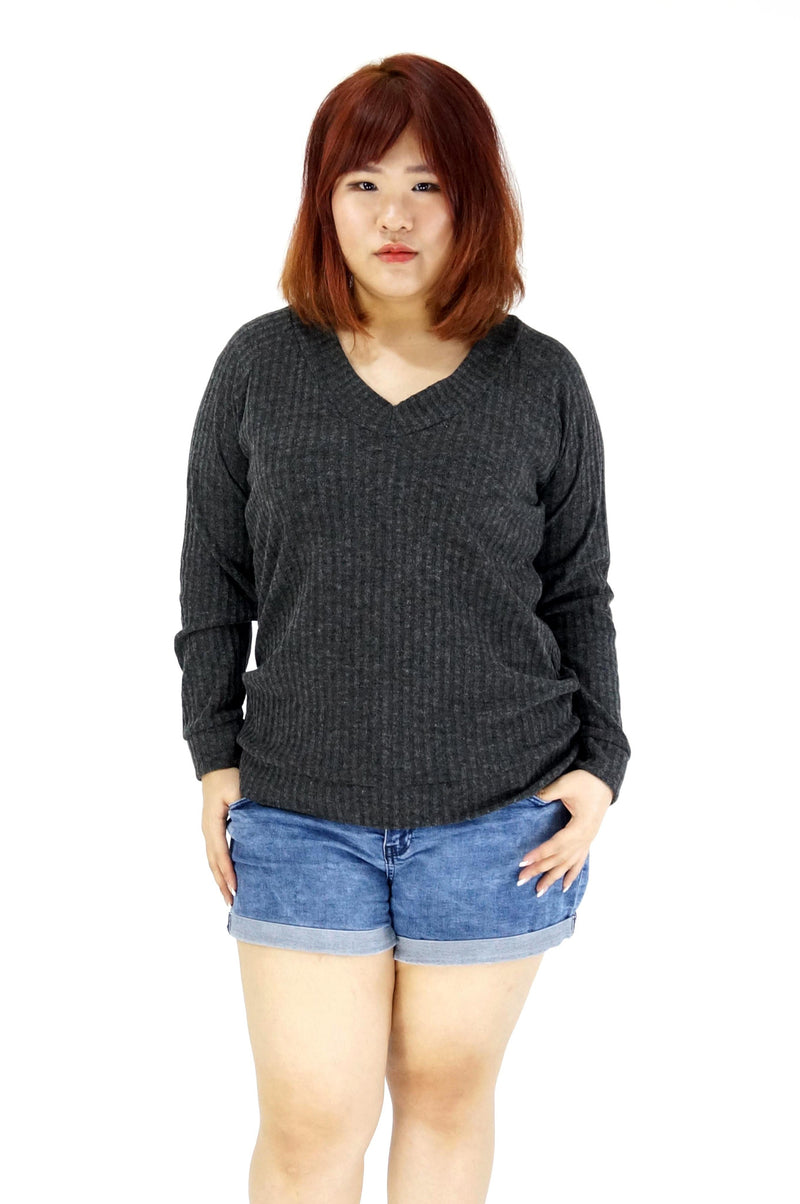 Charcoal V-neck Long Sleeve Ribbed Top