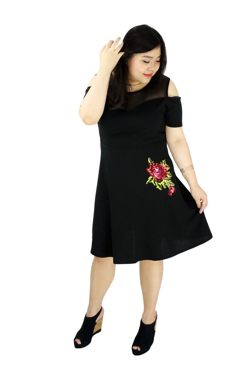 Cold Shoulder Floral Patch Dress