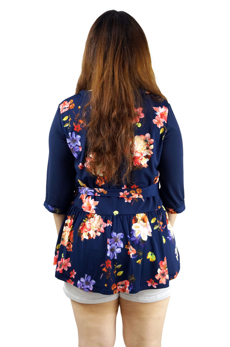 Dark Floral Peplum Top