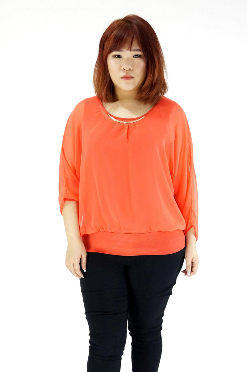 Double Layered Sheer Orange Blouse