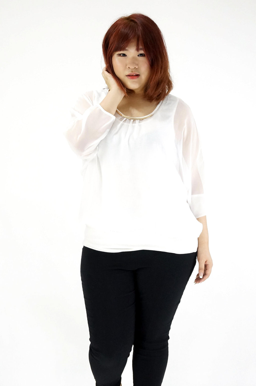 Double Layered Sheer White Blouse