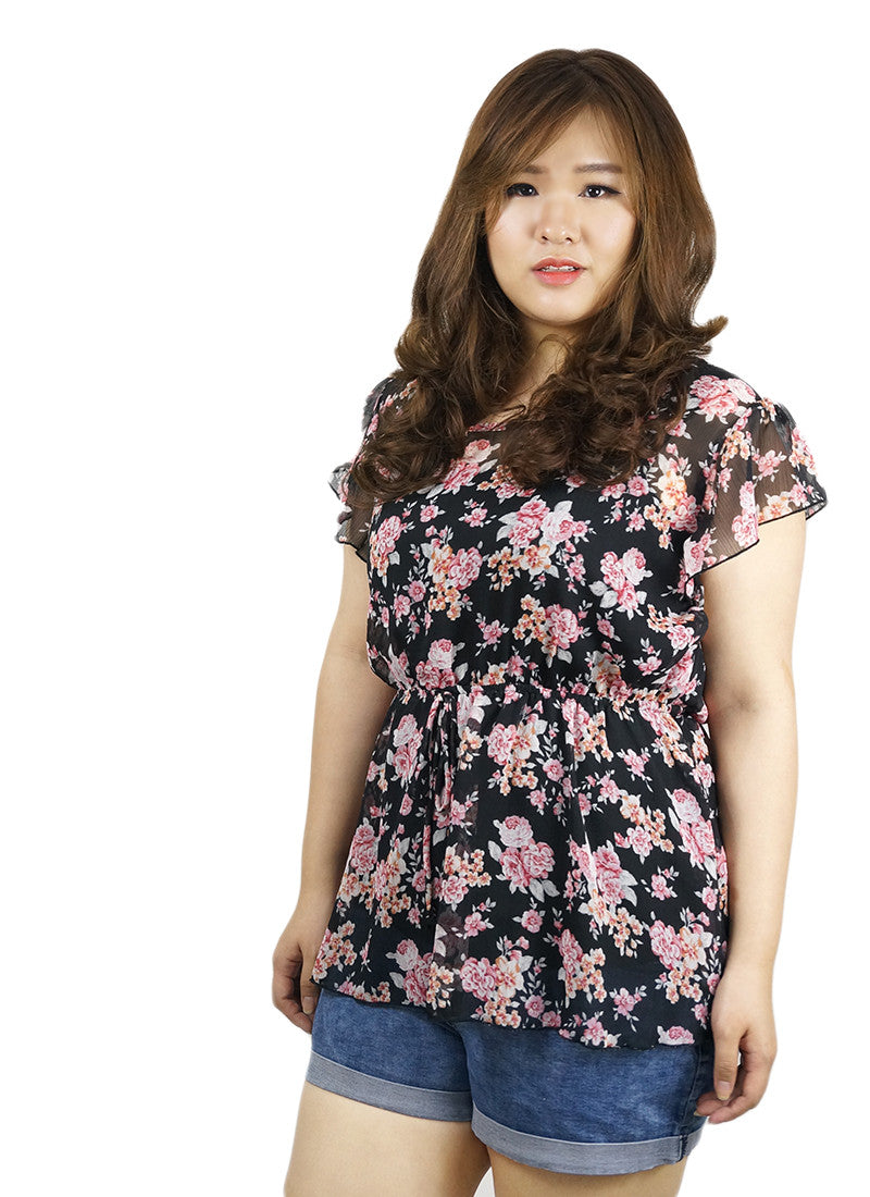 Black Pink Flowers Top