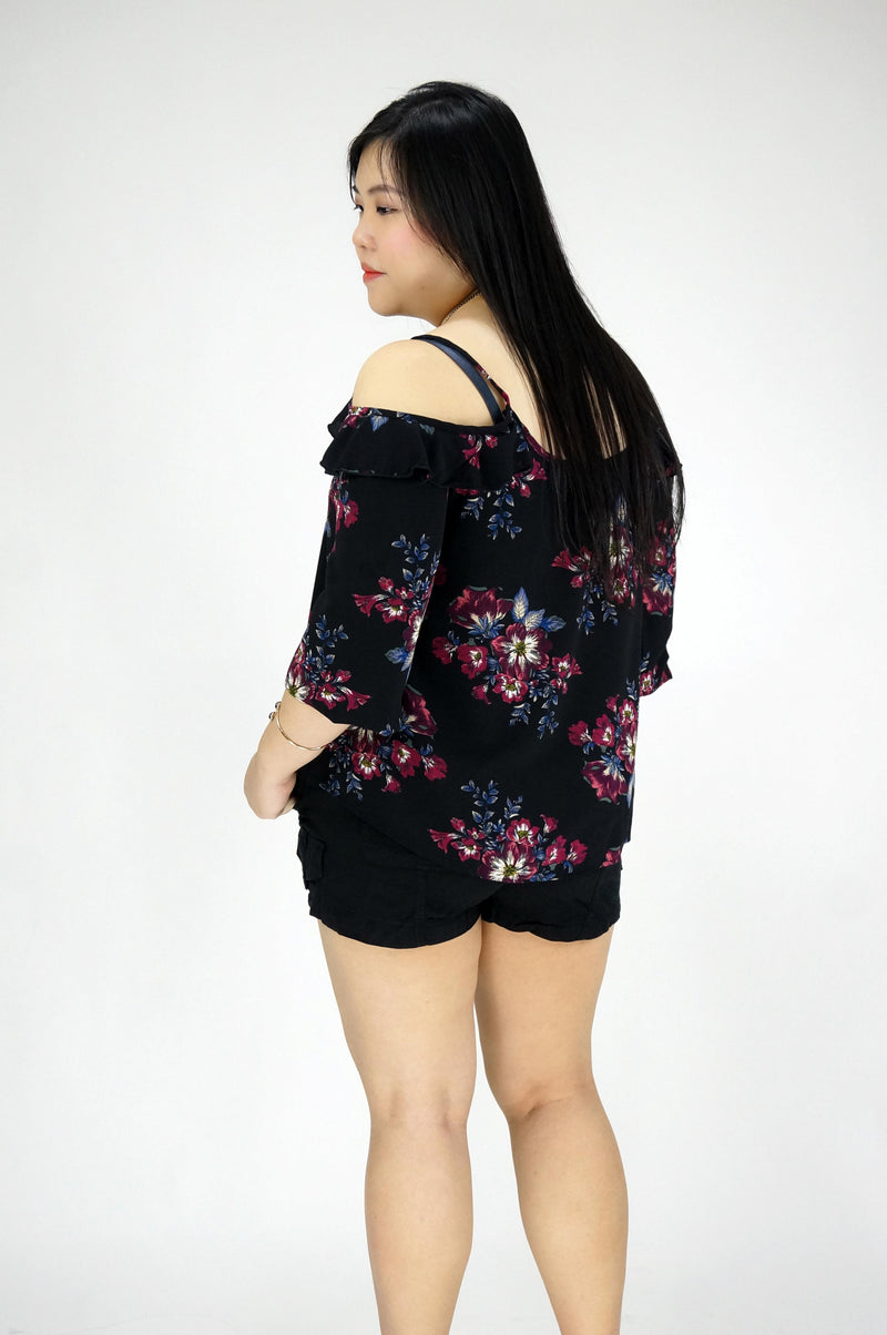 Cold Shoulder Black Floral Top