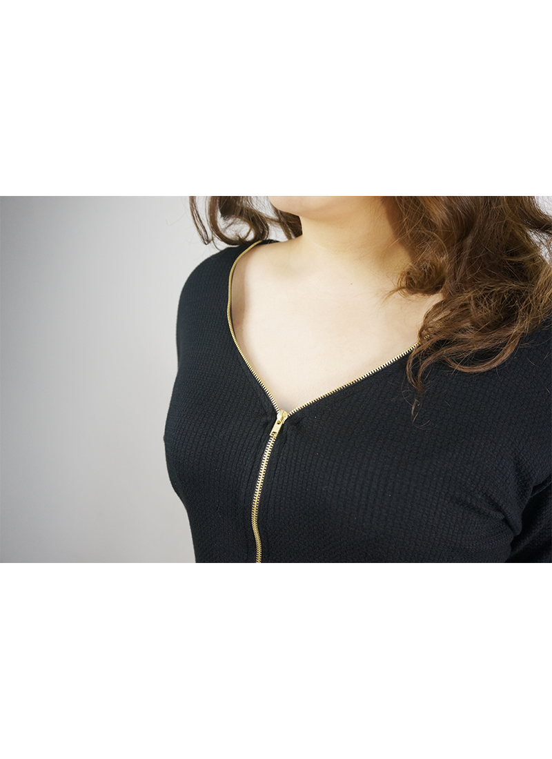 Gold Front Zipper Black Top