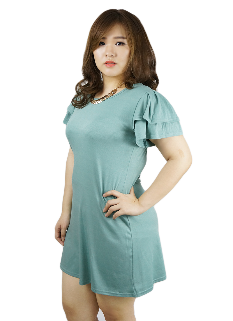 Scoop Neck Butterfly Sleeve Dress