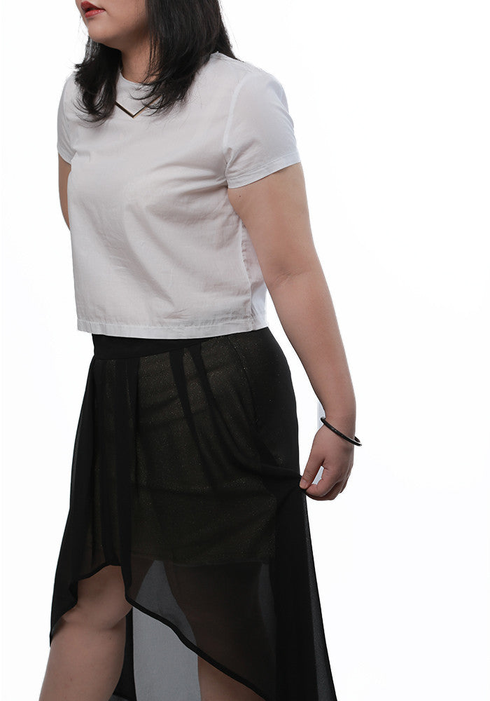 Ladies Plus Size Hi-Low Black Gold Skirt