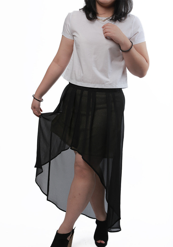 Hi-Low Black Gold Skirt Plus Size