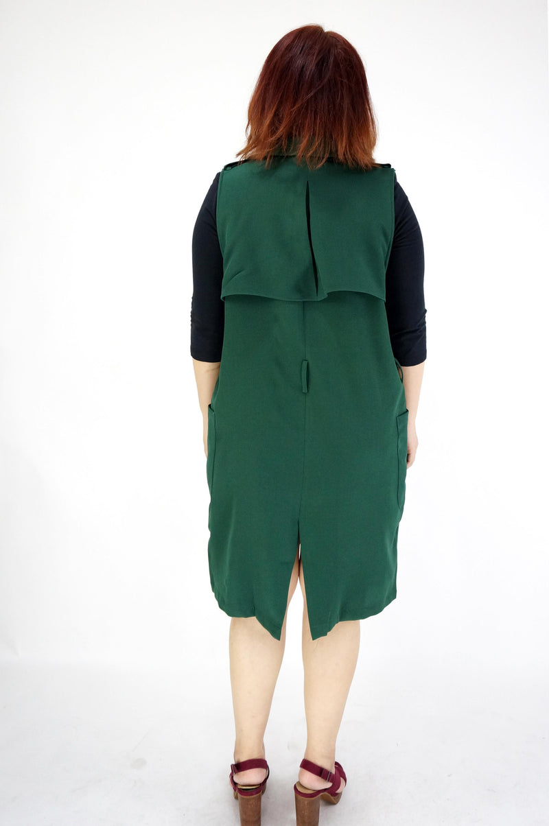 Hunter Green Sleeveless Vest With Waist Belt