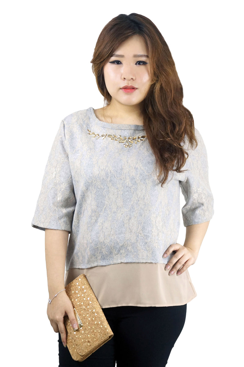 Jewelled Gray Mocha Top