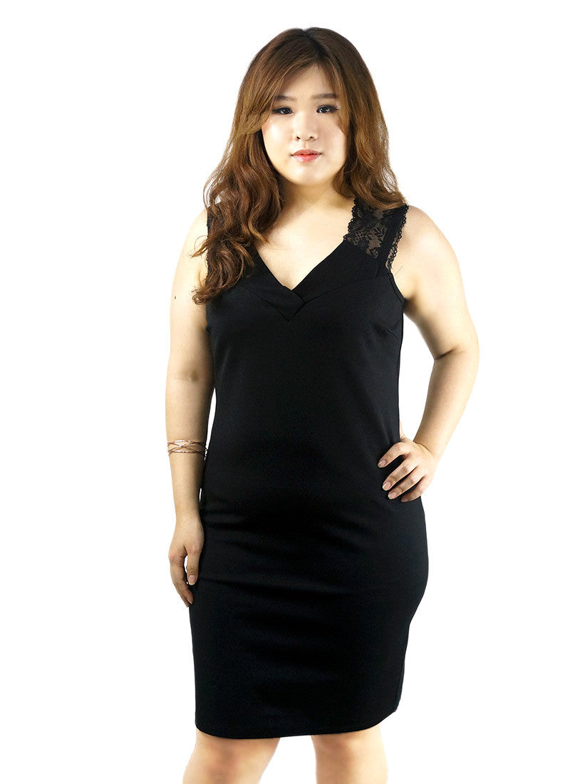 Plunging Neckline Bodycon Black Dress
