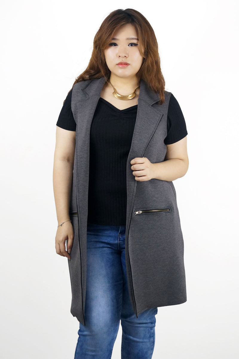 Long Cotton Charcoal Vest