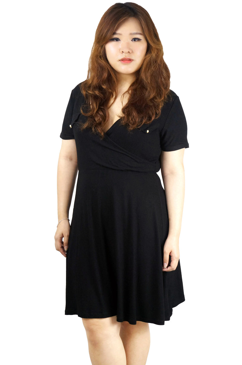 Pocket Front Surplice Black Jersey Mini Dress