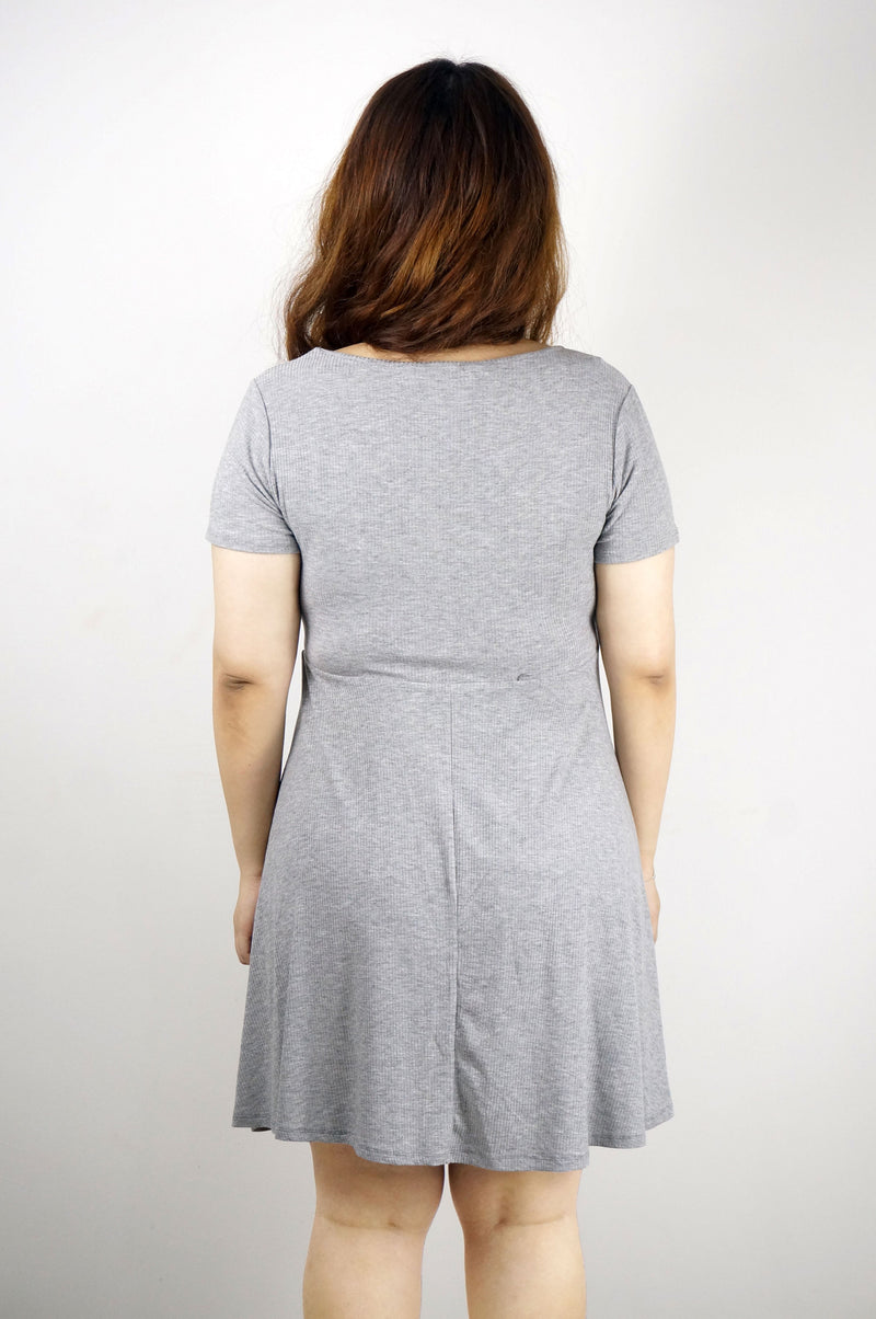 Pocket Front Surplice Grey Jersey Mini Dress