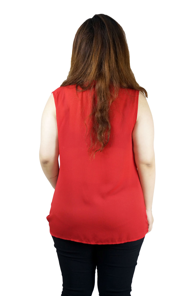 Red Crossover Sleeveless Blouse