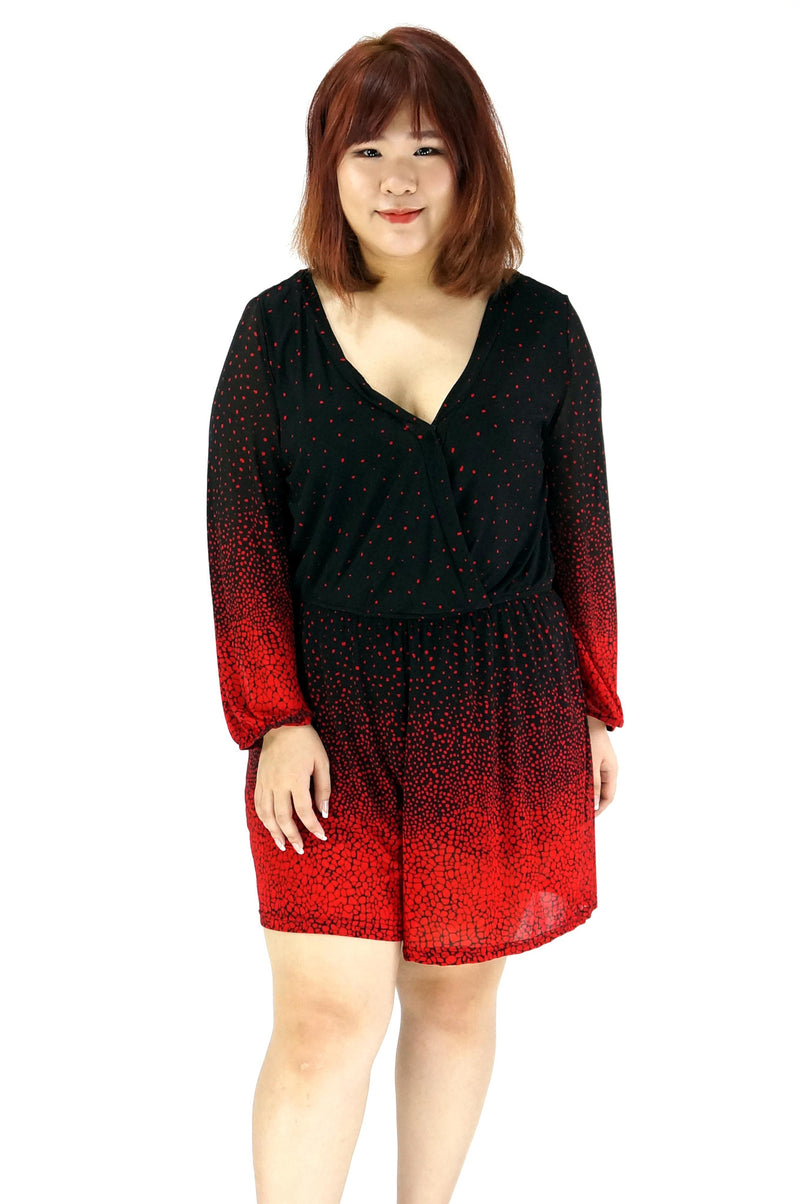 Black Red V-Neckline Romper