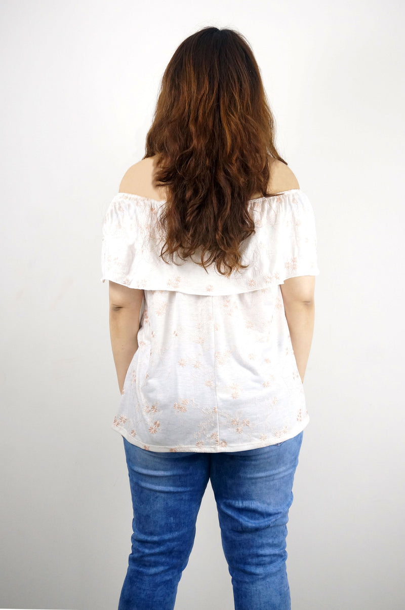 Ruffle Off Shoulder Floral Embossed Top