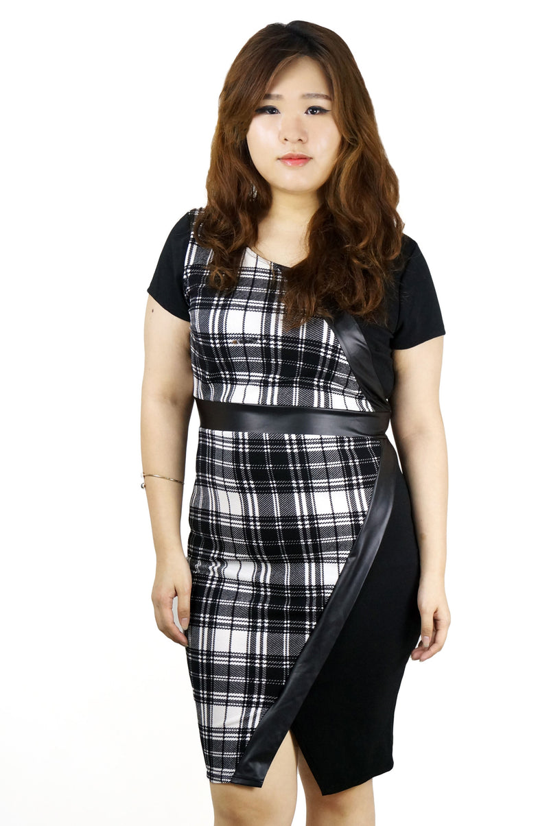 Shirt Sleeve Plaid Bodycon Dress