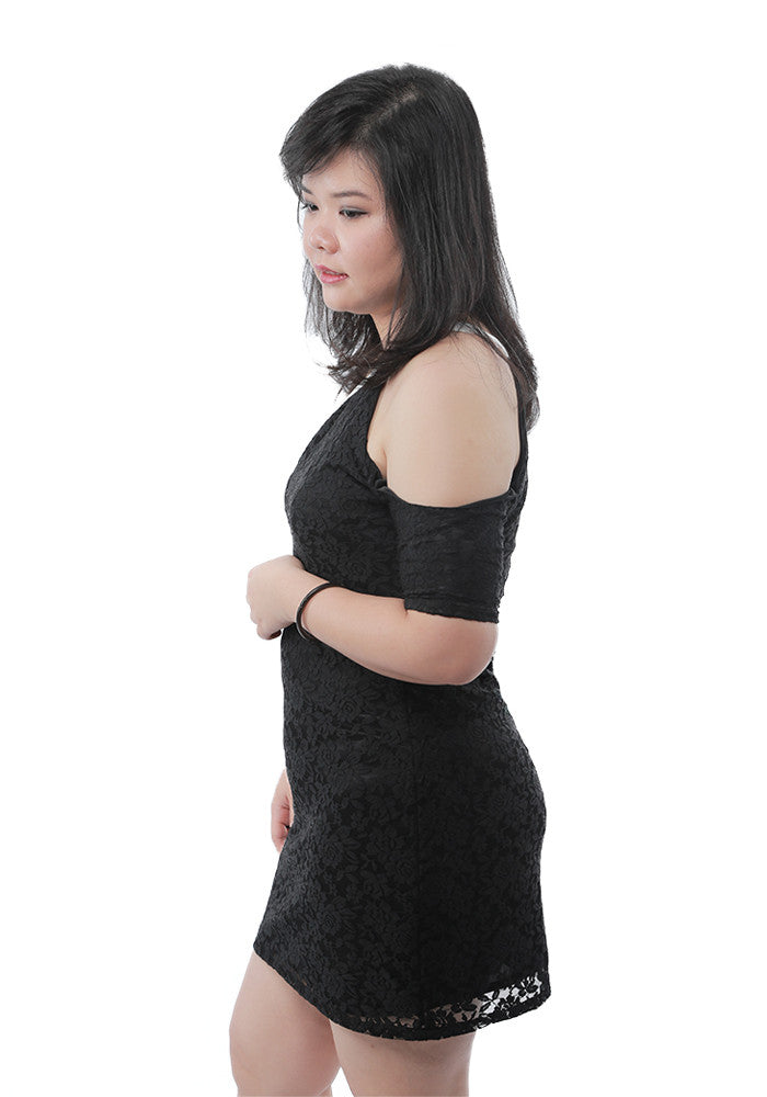 Single Shoulder Lace Dress Plus Size