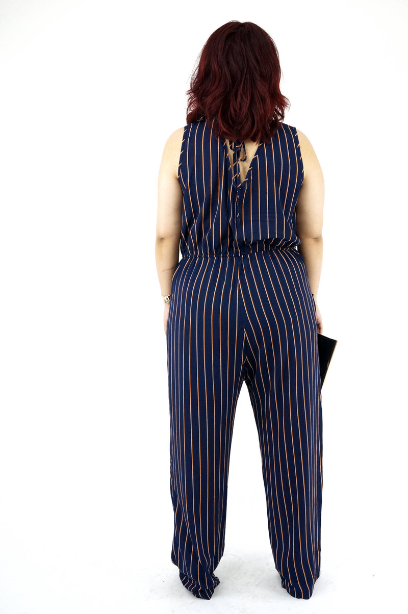 Sleeveless Navy Orange Wide-Leg Jumpsuit