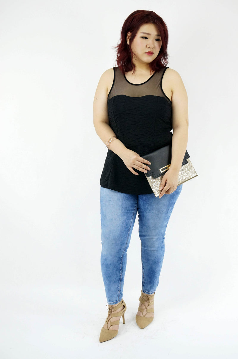 Sleeveless Mesh Yoke Peplum Top