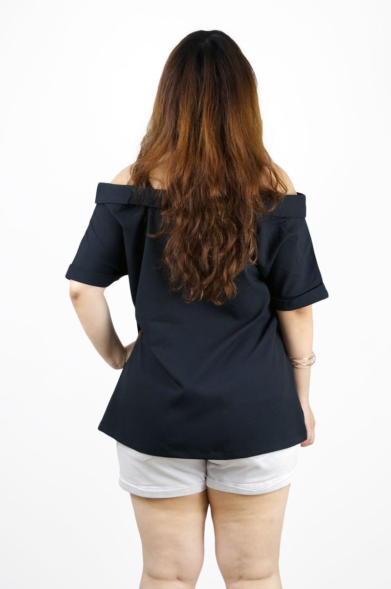 Split Shoulder Black Blouse